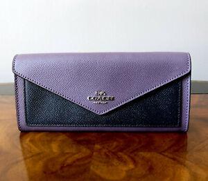 NWT Coach Dusty Lavender Multi Leather Flap Front Envelope Slim Wallet Clutch