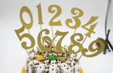 10pcs (0-9) Gold Silver Glitter Numbers Personalized Cake Topper Kit Wedding Bir