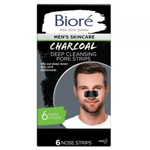 Bioré Men's Skincare Charcoal Deep Cleansing Pore Strips