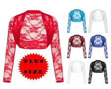 Long Sleeve Lace Shrug Womens Bolero Cropped Cardigan Top Ladies Size 8 - 22