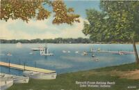 Lake Webster Indiana~Folk and Boats at Epworth Forest Bathing Beach 1940 Linen
