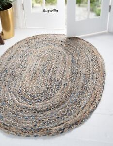 Braided style Indian Natural jute & denim Rug Handmade Decor classic Jute Carpet