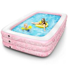 """Inflatable Pool Above Ground Swimming Pool for Kiddie/Kids 22"""" Deep 10x6ft Pink"""