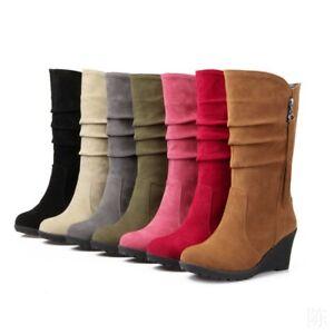Ladies Wedge Mid Heel Tassel Decor Pull On Side Zip Mid Calf Boots Plus Sizes