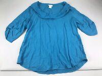 Soft Surroundings Petite Large L PL Blue Drape Neck Blouse Top Shirt 3/4 Sleeve