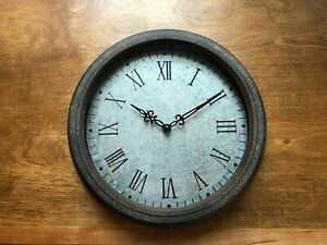 Country Farmhouse Galvanized Metal and Glass Wall Clock Last One!