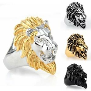USA Real Men's Gold.Stainless Steel, Wedding Ring,LION.Head.8-15 Gift