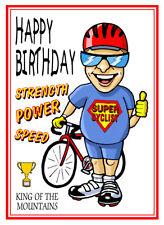 CYCLING SUPER CYCLIST BIKE CARTOON HAPPY BIRTHDAY CARD FREE POST 1ST CLASS