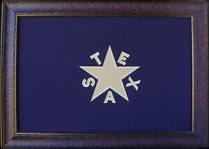Blue Texas Flag Framed Aged De Zavala Real Rustic Western Custom Art 42'' x 30''