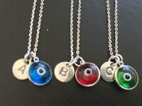 Sterling Silver Evil Eye Mati Initial Disc Necklace Alphabet Letter Personalised
