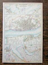 1865 Liverpool Holyhead Mersey Fullarton Bartholomew Railways Docks Antique Map