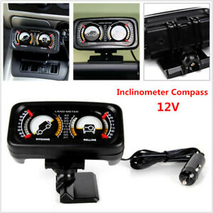 12V TR-313 Car Two-barreled Backlight Inclinometer Compass Balance Slope Meter