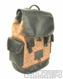 NEW - COACH Rivington Beige Leather w/ Coach Monogram Luxury Backpack 40344
