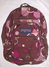Youth Jansport Big Student Brown Pink Geometric Circles Print Large Backpack