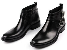 Mens Ankle Boots Genuine Cow Leather Business Formal Dress Shoes Side Zip Buckle