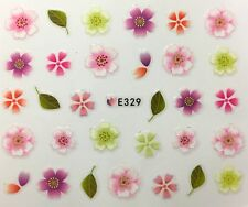 Nail Art 3D Decal Stickers Pastel Flowers with Green Leaves E329
