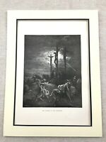 1870 Antique Jesus Picture The Crucifixion of Christ Old Bible Print Engraving