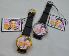 NIB Elvis Commemorative Watch Replica of USPS Elvis Stamp Round Face Set of 2
