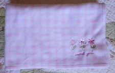 Just One Year Plush Fleece Pink Plaid Sweet Girl Baby Blanket w Flowers Euc