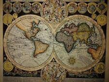 """""""Planisphaerium Terrestre"""" MAPPA ANTICA  di A. F. Zurner (1679-1742)"""