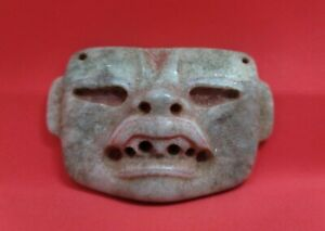 Pre-columbian Olmec Blue Jade mask from Mexico. Ca.