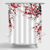 Cherry Blossom Branch Floral Shabby Chic Boho Country Fabric Shower Curtain
