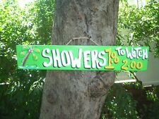 SHOWERS $1.00 TO WATCH TROPICAL TIKI HUT BAR HUT POOL BEACH HOT TUB SIGN PLAQUE