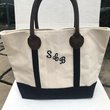 TRAVELON  Canvas Bag Tote Leather Straps Zipper LARGE Initialed Heavy Canvas. EC