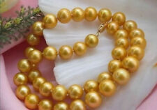 GORGEOUS 8-9 MM NATURAL AKOYA GOLD PEARL NECKLACE 18'' 14K clasp