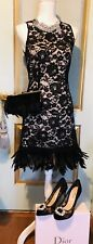 NWT Black Lace Dress With Feather Size M $250 And Matching Clutch