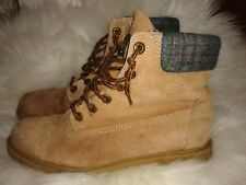 Boho Women's VINTAGE Wolverine Combat hiking Boots Brown Suede Made USA 7.5