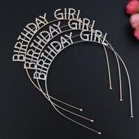 Gold Metal It's My Birthday Headband Tiaras Girl Birthday Party Hair Accessory A