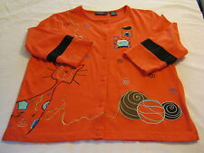 ONQUE CASUALS Womens Top/Light Sweater,S/Small,Orange,Embroidered,Cat,Teacher
