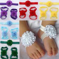 3 Pcs/Set Newborn Baby Girl Kids Infant Headband Foot Flower Elastic Hair Band