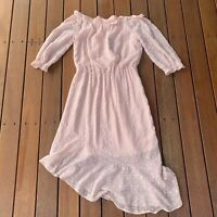 New Forever New Size 8 Alex Off Shoulder High Low Dress Nude Shimmer RRP $100