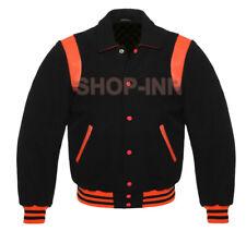 Varsity Letterman Bomber Baseball Jacket Black Wool And Orange Leather Stripes
