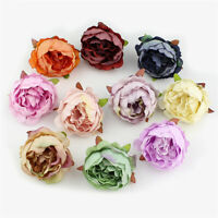 10x Fake Artificial Peony Silk Floral Rose Flower Heads Bridal Wedding Bouquet~