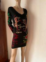 Jersey Kleid von Ed Hardy schwarz bunt Strass Tatoo The world is mine M