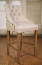5 x Counter Stools Oak Linen Upholstered French Provincial Studded Barstool