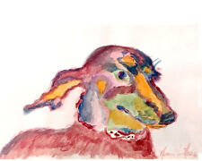 """Mini Dachshund  8""""x10"""" Limited Edition Watercolor Print Signed Art Artist"""