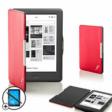 Leather Red Smart Shell Case Cover for Kobo Glo HD eReader + Screen Prot Stylus