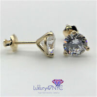 4 CT Round Diamond Screw Back Martini Stud Earrings Real 14K Solid Yellow Gold