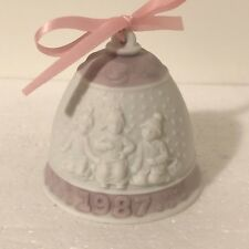 Pink White Lladro Christmas Bell Ornament Porcelain Children Snow 1987 Xmas