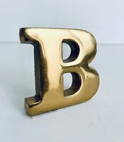 "Solid Shiny Brass B Alphabet Letter Paper Weight Beautiful 2"" H X 2"" W X 3/8"" D"