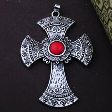 """x 2.75 in Overall Antiqued 18 inch chain Goth Cross 3/8 """" Red Turquoise Stone 2"""