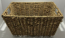 SMALL SEAGRASS WICKER STORAGE BASKET WITH HANDLES TIDY BATHROOM ORGANISER