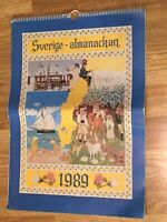 1989 Sverige Almanackan/Swedish WALL CALENDAR  with 12 Different Provinces  VG