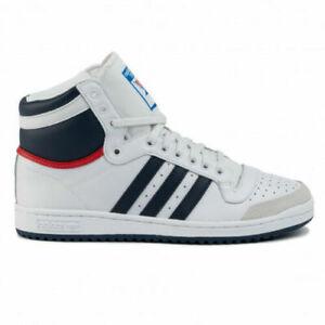 Adidas Originals Mens Top Ten Hi Shoes Trainers White/Blue D65161 UK 6.5