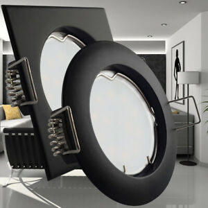 LED Einbaustrahler Deckenspot Schwarz Einbaurahmen Leuchte dimmbar Set GU10 230V