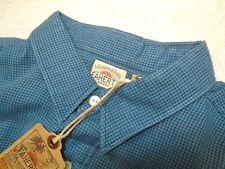 Faherty 100% Cotton Teal Blue Mini-Gingham  Ventura Sport Shirt NWT  XXL $128